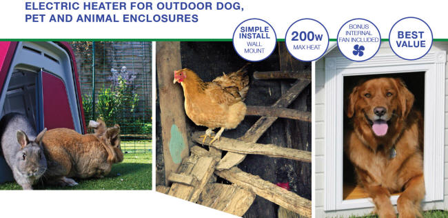 Dog House Heater and Fan - Multi-Use - Rabit Hutch - Chicken Coop - Dog House